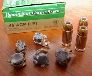 remington golden saber 45 185 plus P ammo review