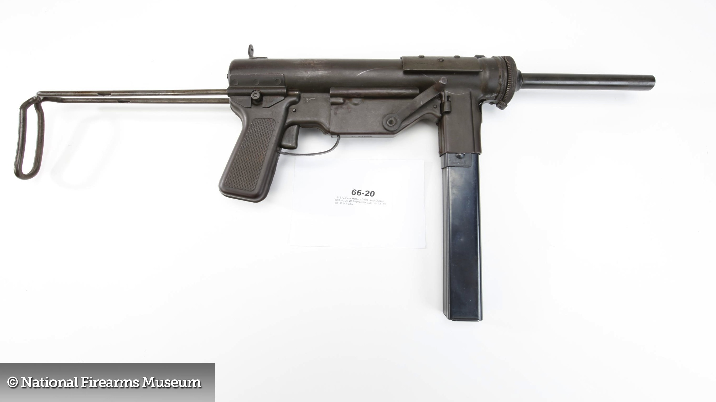 The M3 Grease Gun. Photo courtesy of the NRA National Firearms Museum. Go there. Really.