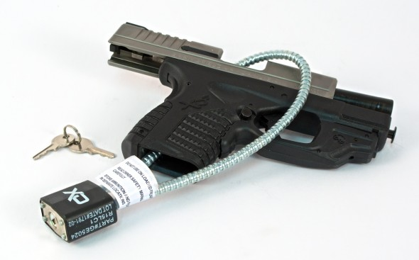 Gun safety in the home can be as easy as using a gun lock, seen here. Gun locks are available for free thanks to industry partners and the National Shooting Sports Foundation.