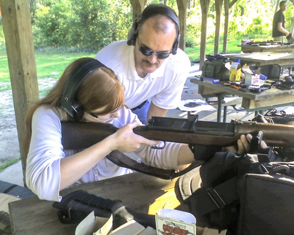 Mary Kate is actually demonstrating two topics from the list here. She's plinking with a 1950's era Hakim 8mm Egyptian battle rifle. Who says history can't be fun?