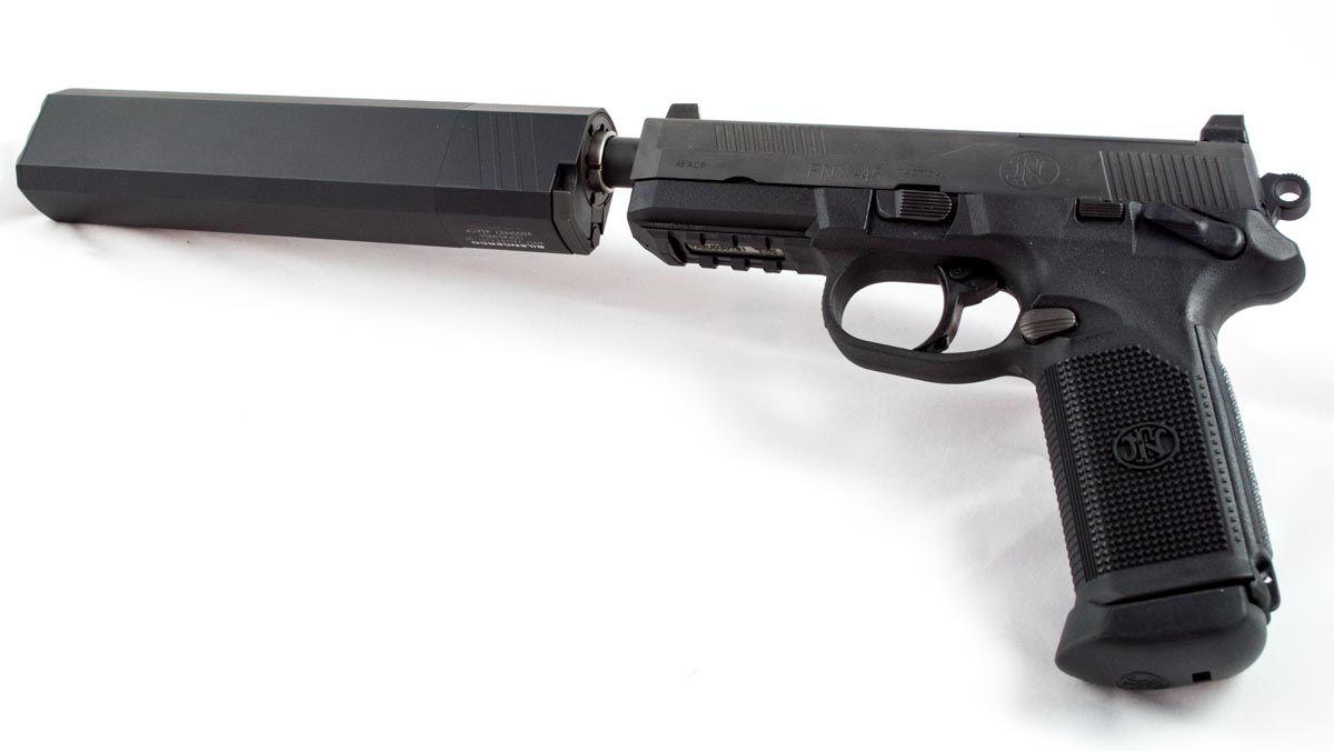 Once you go suppressed, you never go back. Here's an FNX 45 Tactical with a SilencerCo Osprey 45.