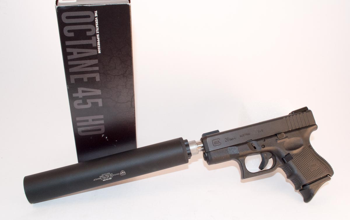 The SilencerCo Octane 45 can be used with smaller calibers too, like this Glock 26 9mm.