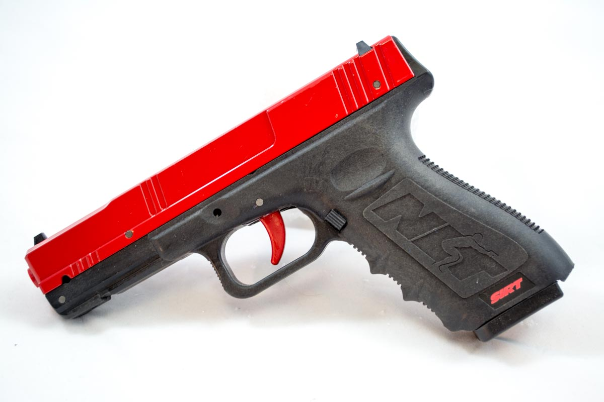 This is the Next Level Training SIRT Practice Pistol. The red slide clearly indicates that it's not a real gun.