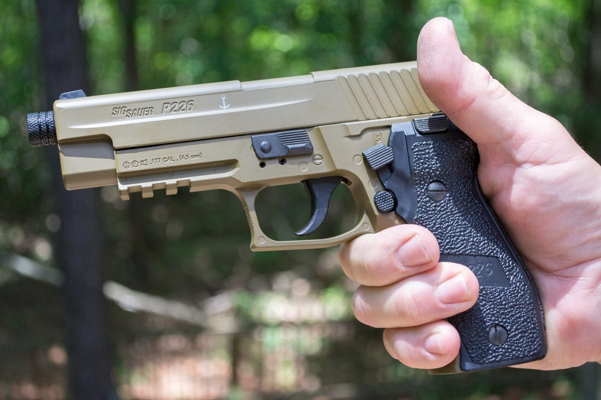 The P226 Air Pistols look and feel like the real thing. The real Sig's de-cocking lever is actually the safety on the air pistols. Push up to fire and down to put on safe.