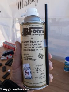 A neat new product find, dB Foam fills pistol suppressors to reduce sound. It also cleans, protects, and helps prevent carbon build-up.