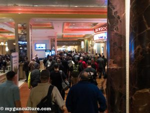 The morning stampede from the connected host Venetian and Palazzo hotels to the exhibition halls.