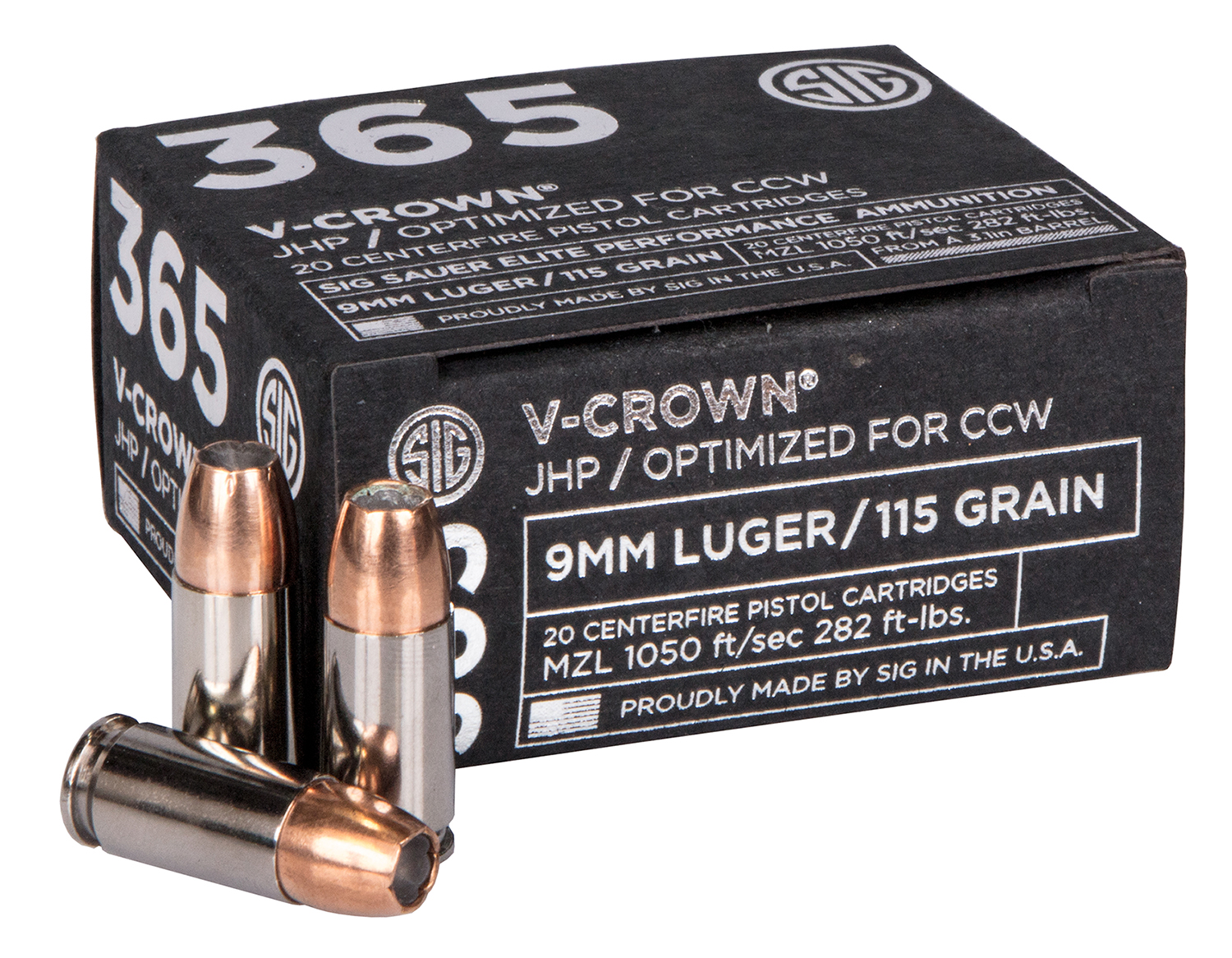 SIG 365 V-Crown Ammunition - 115gr 9mm